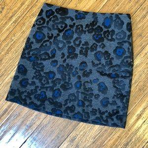 NWT Ann Taylor Cobalt Leopard Print Skirt